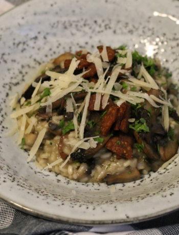 Risotto med svampe og chorizo